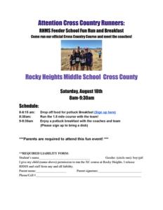 RHMS Cross Country Team Fun Run & Breakfast @ Rocky Heights Middle School
